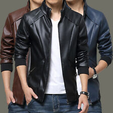 Mens PU Leather Casual Motorcycle Jacket Collar Coats Trench Parka Outwear M-5XL