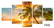 5 Panel Sunset Sea Beach Painting Canvas Wall Art Picture Home Décor Living Room