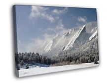 Snow Mountains Winter Cliffs Forest Beautiful FRAMED CANVAS WALL PRINT