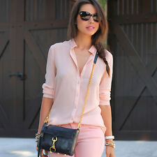 Women Stand Collar Long Sleeve Pink Chiffon Blouse Spring Summer Casual Tops Sex