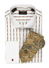Dress Shirt by Steven Land Cutaway Collar  French Cuff -Brown/White-TW501-MU