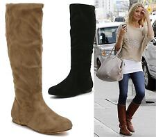 WOMENS LADIES FLAT RIDING KNEE HIGH CALF PULL ON SLOUCH WINTER BOOTS SHOES 3-8