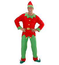 Mens Guys Santas Helper Elves Elf Fancy Dress Jolly Happy Christmas Green Red