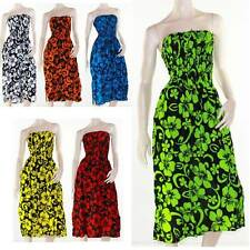 Shirred Dress Strapless Size 8 - 16 Tropical Hibiscus Bright Print Sun Summer
