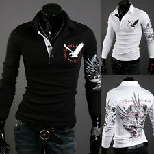 Men's Stylish Slim Fit Fashion Casual T-Shirts Polo Shirt Long Sleeve Tee Tops