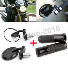 "Black Motorcycle Rearview Mirrors Hand Grips 7/8"" Bar End Kit For Sports Bikes"