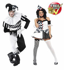 Adult Mens Harlequin Jester Clown COUPLES Halloween Ladies Fancy Dress Costume
