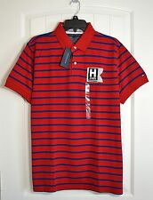NEW MENS TOMMY HILFIGER RED BLUE STRIPE RUGBY POLO T SHIRT SZ L
