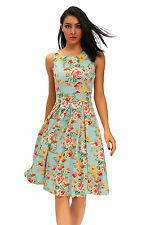 Vintage Chic 50s Swing Party Floral Flare Dress In Mint Stage Dance Wear Brief
