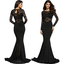 Black Long Lace Sleeve Mermaid Prom Dress Backless Long Sleeve Sexy Summer Party