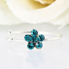 Small Thin Flower Clear Crystal Nose Ring Stud Hoop-Crystal Nose Ring Gifts Hot