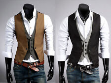Mens Casual Jacket Suit Slim Fit Vest Coats Business Formal Vest Waistcoat JJJ