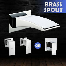 Square Wall Basin Mixer Hot Cold Tap Sink Vanity Shower Bath Spout Faucet Chrome