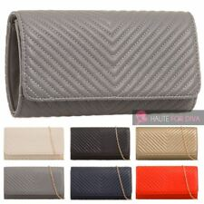 NEW WOMEN'S CHAIN STRAP FAUX LEATHER V QUILT PARTY EVENING CLUTCH BAG PURSE