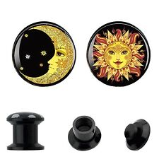 Ear Plugs Stretcher Ear Gauges Expander Sun and Cute Moon on Acrylic Plugs PAIR