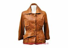 NWT Ladies Vintage Style Brown Leather Jacket Size XS-3XL