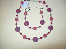 Lia Sophia RAZZBERRY Silver Cut Crystal Necklace & Bracelet
