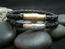 Men's Leather Bracelet Black Braided Leather Brass Magnetic Clasp Choice Clasp