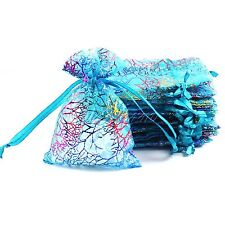 50/100pcs Bronzing Organza Xmas Candy Bag Christmas Jewellery Packing Gift Pouch