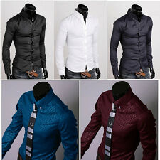 Fashion Mens Luxury Business Casual Dress Shirt Stylish Slim Fit Long Sleeve YH