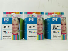 3 New Hewlett Packard HP 45 Black 78 Tri color Combo Pack Ink Cartridges Ex 2007