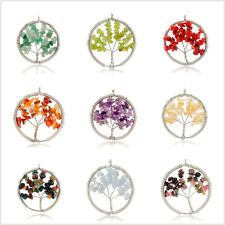 Fashion Natural Crystal Stone Statement Tree Shape Necklace Pendant Jewelry Gift
