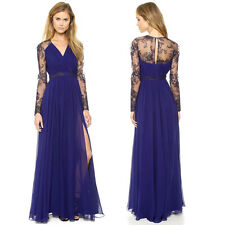 Sexy Women Chiffon Lace Floral V Neck Cocktail Party Maxi Long Dress Formal Gown