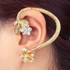 CZ FLOWER CRYSTAL EAR PIERCING TRAGUS CARTILAGE HELIX EARRING Cuff RING