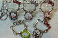 Snap pendant necklace Kitty cat plus 2 snap charm chunk buttons