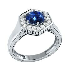 0.75 ct Natural Blue Sapphire & Certified Diamond Solid Gold Engagement Ring