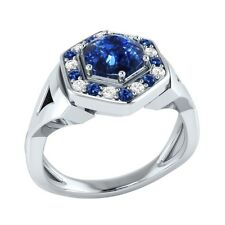 0.80 ct Real Sapphire & Certified Diamond Solid Gold wedding Engagement Ring