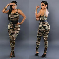 Sexy Women Jumpsuits Sleeveless Camouflage Rompers Long Pants Trousers