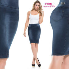 Fajas Colombianas Knee Pencil Skirt Jeans Buttocks Lifter Stretch Sexy Fit Denim
