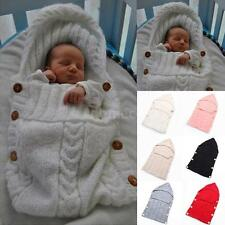 Warm Swaddle Wrap Baby Blanket Newborn Infant Knit Crochet Sleeping bag H4P7