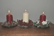 Christmas Candle Ring & Glass Candle Plate Table Centre Decoration