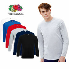 5 PACK MENS LONG SLEEVE FRUIT OF THE LOOM COTTON T SHIRTS
