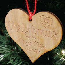 Personalised Mr & Mrs 1st Christmas Tree Decoration | Engraved Wood Bauble Gift