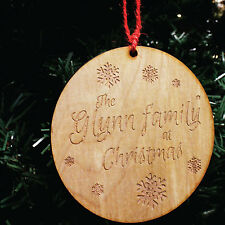 Personalised Family Snowflake Christmas Tree Decoration | Engraved Wooden Gift