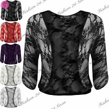 Womens Ladies Lace See Through Batwing Sleeve Crop Open Front Bolero Crop Shrug