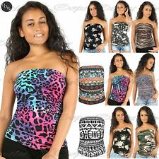 Ladies Strapless Skull Aztec Boobtube Bandeau Womens Crop Side Ruched Bralet Top