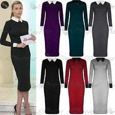 Ladies Womens Knitted Fine Long Sleeve Collared Contrast Midi Dress Plus Size