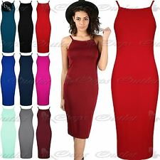 New Womens Ladies Square Neck Thin Strappy Camisole Fitted Bodycon Midi Dress