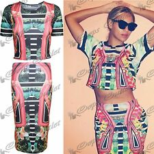 Womens Crop Top Tropical Celeb Stretchy Ladies Tribal Floral Midi Bodycon Skirt