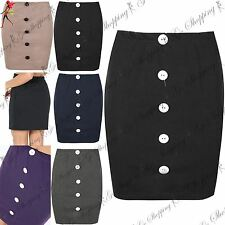 Womens Ladies Elasticated Button Middle Stretchy Waist Bodycon Fitted Mini Skirt