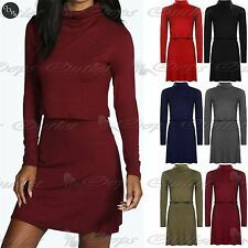 Womens Casual Shift Dress Ladies Cowl Neck Layered Long Sleeve Skater Dress