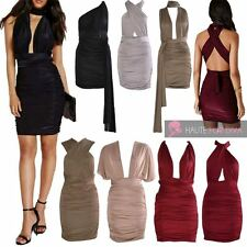 NEW WOMEN'S SLINKY RUCHED MULTIWAY CELEBRITY STYLE SEXY TIE BACK DRESS