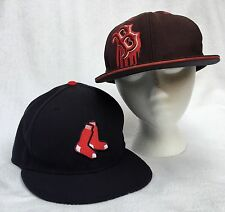 Boston Red Sox 2 MLB Flat Bill Hat 59 Fifty Fitted Cap Blue Brown