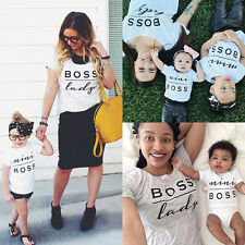 Summer Toddler Newborn Family Girls boy letter print mother father kid T-shirt