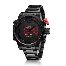 OHSEN Black Stainless Steel Analog Digital Sport Type Red LED Mens Wrist Watch