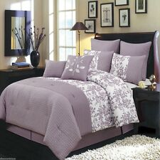 8pc Purple & White Floral Bliss Bed in a Bag Comforter Set AN Pillow Shams